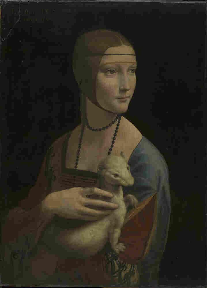 """Portrait of Cecilia Gallerani (""""The Lady with an Ermine"""") by Leonardo da Vinci, about 1489–90."""