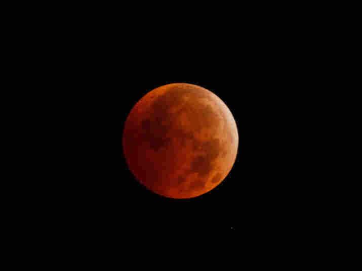 The reddish hue during the December 2010 total lunar eclipse.