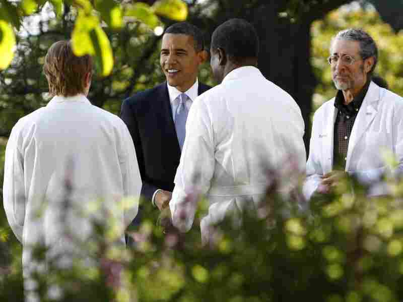 President Barack Obama speaks with doctors in the Rose Garden at the White House on Oct. 5, 2009 in Washington, DC.