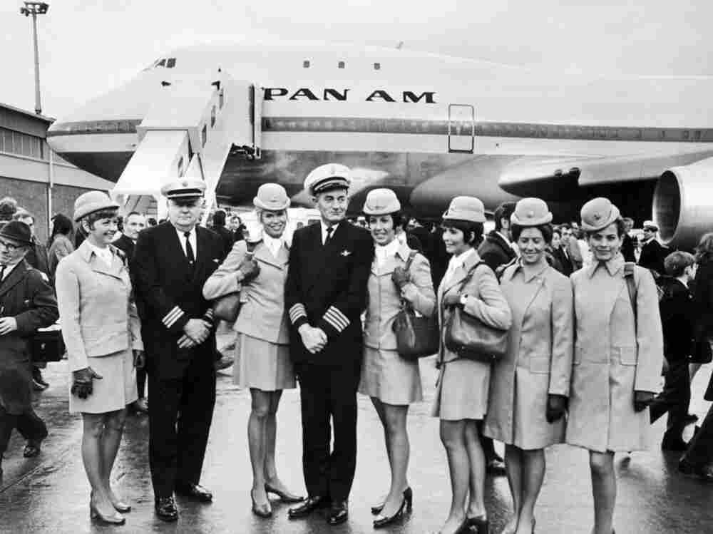 The aircrew of the first commercial flight of the Boeing 747 from New York to London for Pan American.