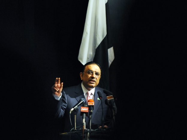 Pakistan President Asif Ali Zardari speaks in Sri Lanka on Nov. 29. The president has been treated at a hospital in Dubai since Dec. 6. Aides say he is recovering.