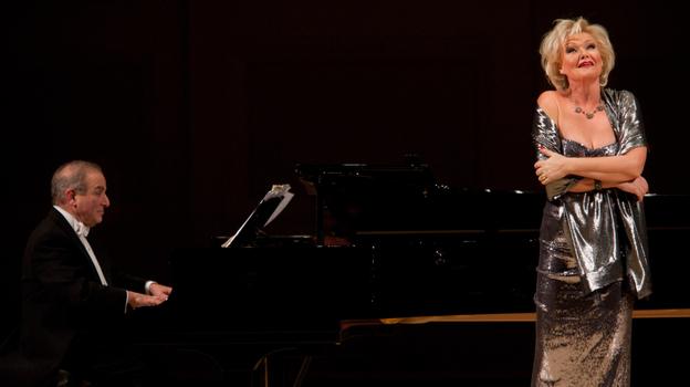 Soprano Karita Mattila and pianist Martin Katz perform live at Carnegie Hall: December 10, 2011. (Melanie Burford for NPR)