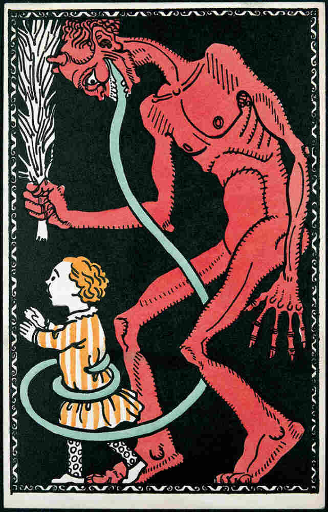 An illustration of the Krampus from an early 20th-century postcard.