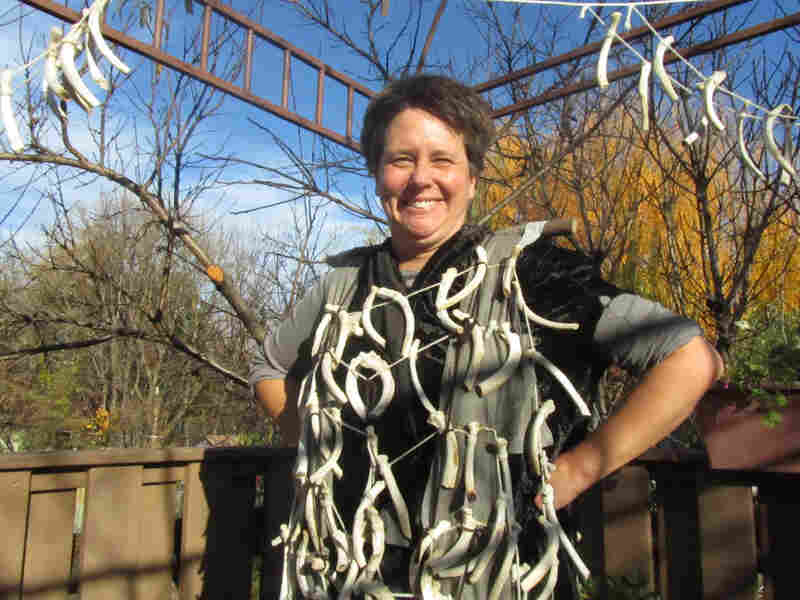 Janet Finegar shows off her costume of rib bones prepared for the Krampuslauf in Philadelphia. She'll be one among many parade participants dressed as the mythical Christmas demon Krampus.