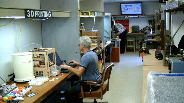 The Maker Station is a 50-foot trailer in the parking lot of the Allen County Public Library in Fort Wayne, Ind. It's a hackerspace where do-it-yourselfers share tools and expertise. (TekVenture)