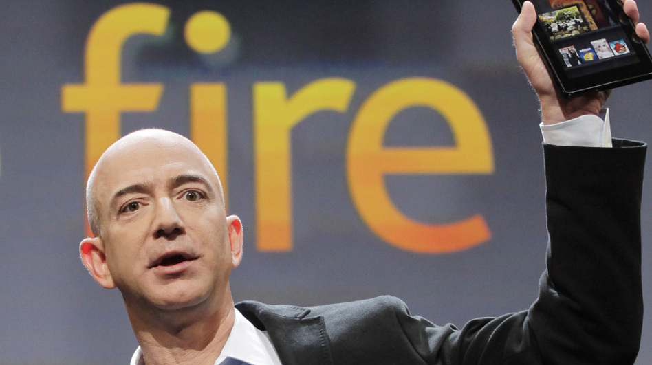 Jeff Bezos, chairman and CEO of Amazon.com, introduces the Kindle Fire at a news conference in September. The new tablet quickly rose to the top of Amazon's sales charts.