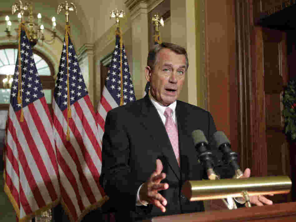 House Speaker John Boehner speaks to reporters at the Capitol on Monday.