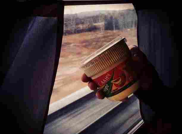 Instant potatoes in a to-go cup are standard fare on the Trans-Siberian railway. Yum!