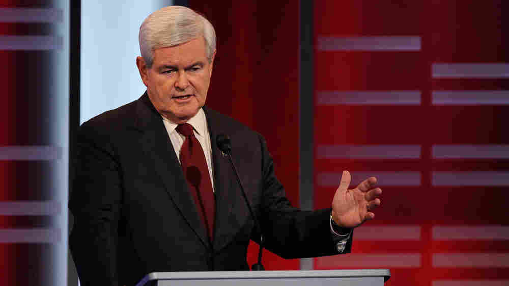 """Republican presidential candidate  Newt Gingrich, speaking here in a Republican debate on Saturday, has angered Palestinians by calling them """"an invented people"""" and """"terrorists."""""""