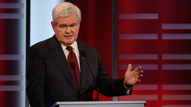"Republican presidential candidate  Newt Gingrich, speaking here in a Republican debate on Saturday, has angered Palestinians by calling them ""an i"