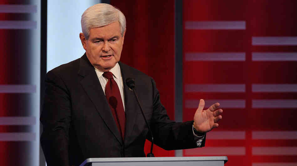 "Republican presidential candidate  Newt Gingrich, speaking here in a Republican debate on Saturday, has angered Palestinians by calling them ""an inve"