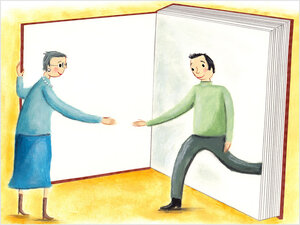 Illustration: A man steps out of a book to shake hands.