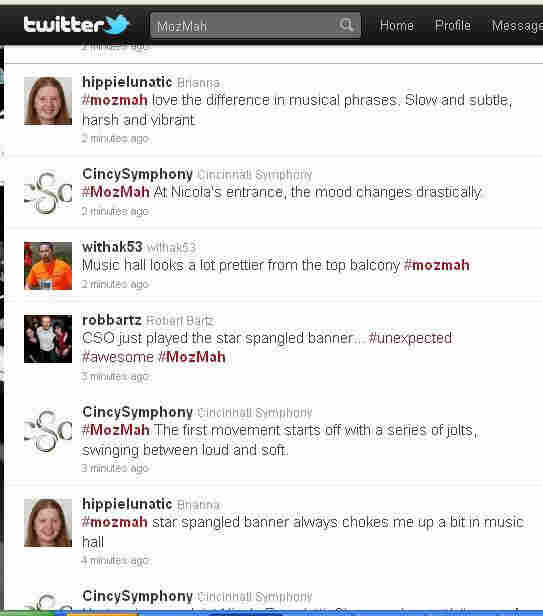 A screenshot of users taking advantage of the #mozmah hashtag during a performance of Mozart and Mahler.