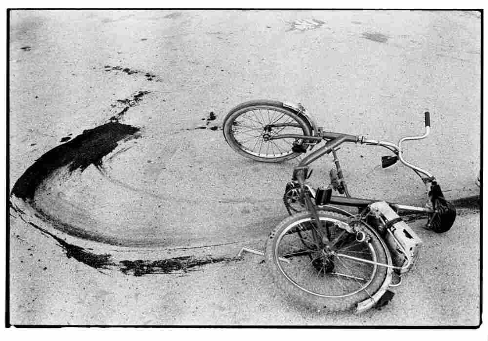 Sarajevo: The fallen bicycle of a teenage boy killed by a mortar in 1994.