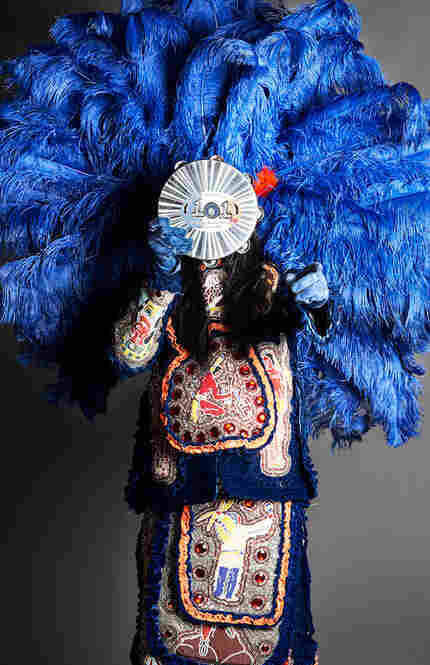 Big Chief Monk Boudreaux with tambourine in New Orleans, La., 2010.