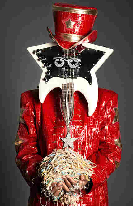 Bootsy Collins with bass guitar in Cincinnati, Ohio, 2010.