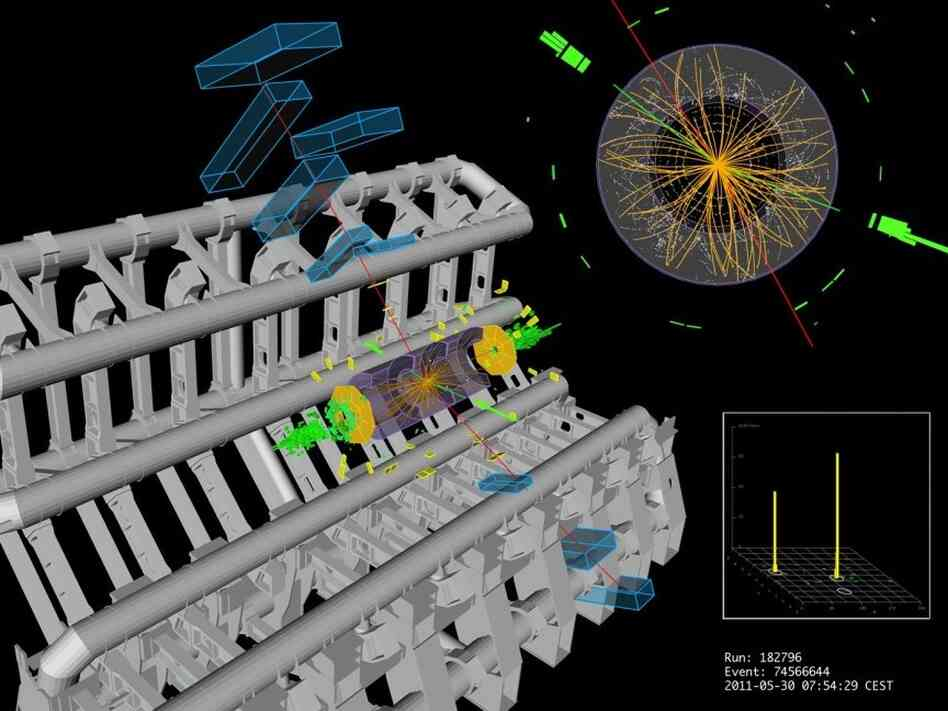 A proton-proton collision in the ATLAS detector at CERN shows signs that may, or may not, indicate a Higgs signature.
