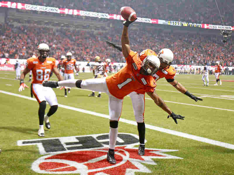 Even In Canada: During the CFL's Grey Cup title game in November, Arland Bruce (1) and Andrew Harris of the BC Lions choreographed their moves to celebrate a fourth-quarter touchdown against the Winnipeg Blue Bombers in Vancouver.