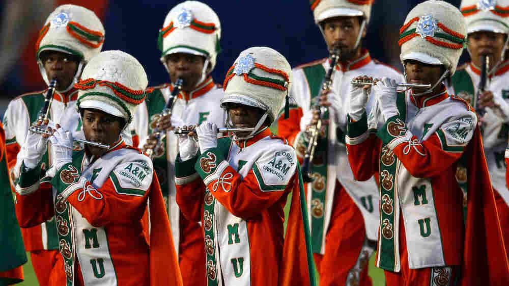 Members of the Marching 100, Florida A&M University's marching band, perform before the Super Bowl in Feb. 2010.