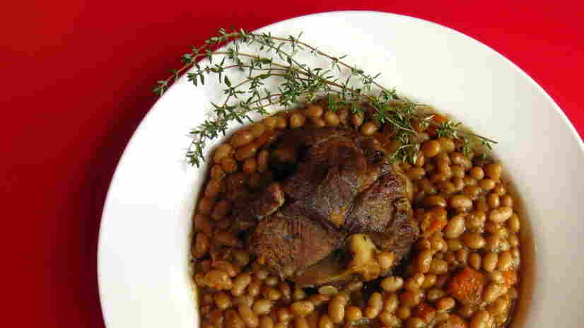 Lamb shanks with white beans.