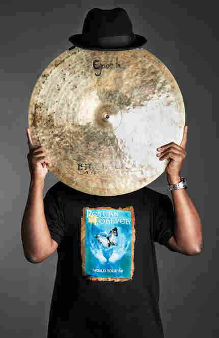 Lenny White with cymbal in Brooklyn, N.Y., 2010.