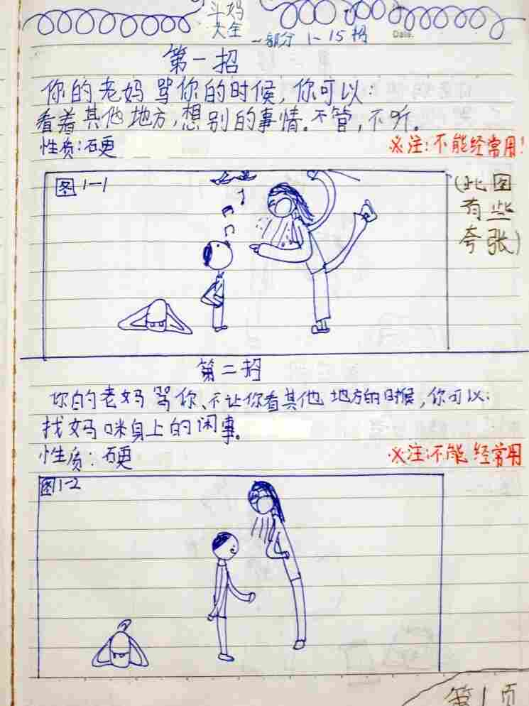 This is the drawing on the first page of The Complete Book of Combat With Mum, which Chen Leshui's dad posted online.