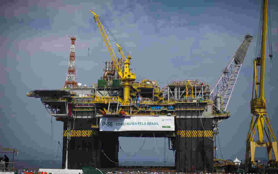 The Petrobras P-56 oil platform is seen during its opening ceremony in Angra dos Reis, Brazil, in June. The offshore platform has a capacity of producing 100,000 barrels per day.