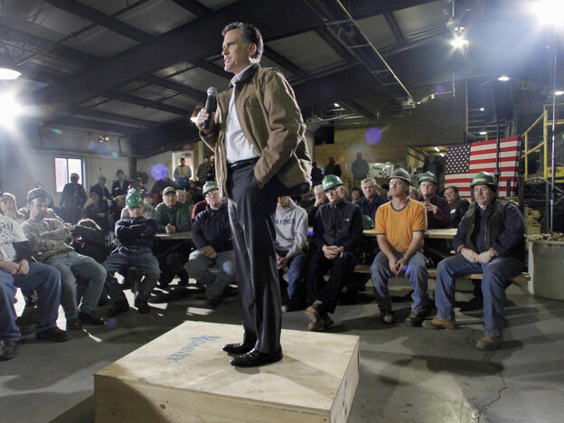 Republican presidential candidate Mitt Romney speaks at a campaign stop wi