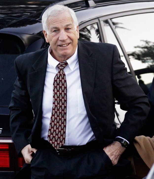 Former Penn State assistant football coach Jerry Sandusky as he arrived this morning at the  Centre County (Pa.) Courthouse.