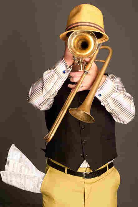 Steven Bernstein with trumpet and slide trumpet in Brooklyn, N.Y., 2011.