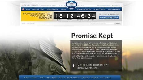"""""""Promise Kept,"""" it says on the landing page of the Iraq War interactive timeline posted by the White House today."""