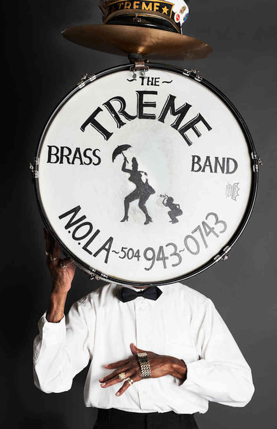 Uncle Lionel Batiste with bass drum in New Orleans, La., 2010.
