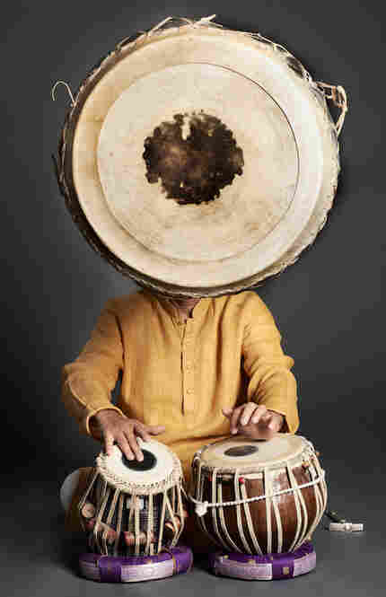 Zakir Hussain with tabla drums in San Rafael, Calif., 2011.