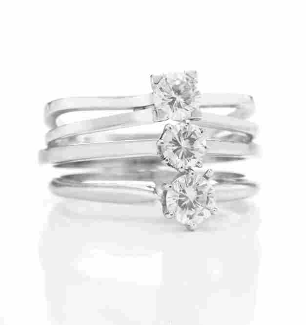 """Burton gave Taylor this group of three diamond rings after she beat him in a game of ping-pong – hence their name, the """"Ping Pong Diamonds."""""""