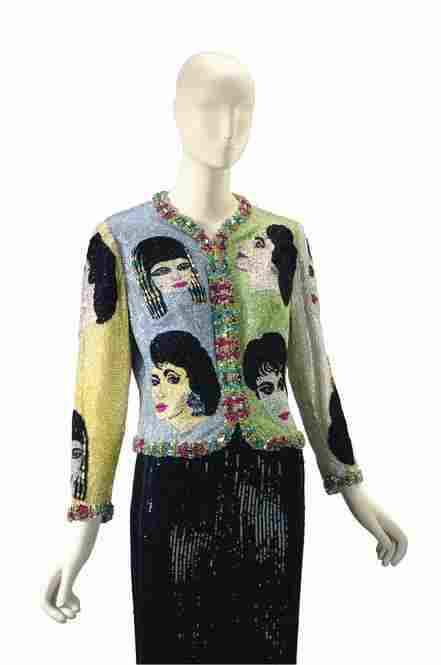 A beaded Versace evening jacket, so unique that it comes with a title: The Face.