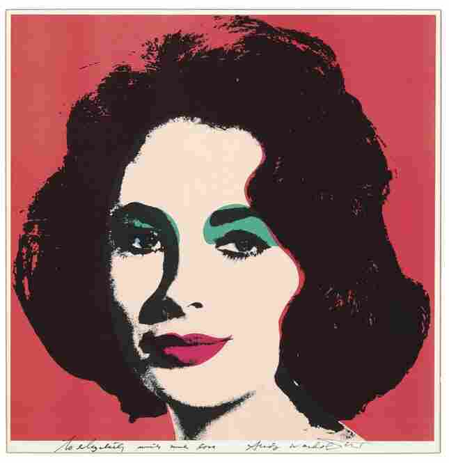 """This 1964 Andy Warhol lithograph entitled """"Liz"""" is signed by the artist. It reads, """"To Elizabeth with much love"""" in felt-tip pen."""