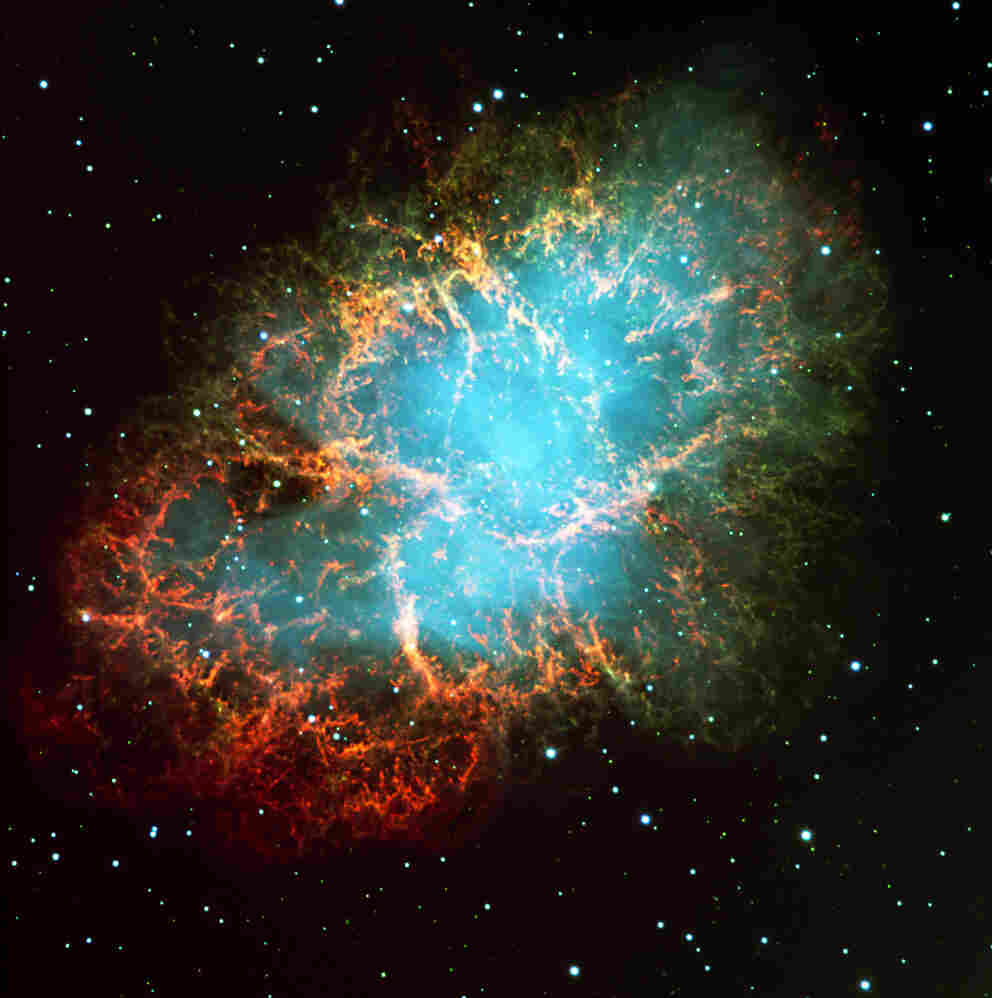 The Crab Nebula — 6,000 light-years away — is the remnant of a supernova explosion. It was observed by man almost 1,000 years ago, in the year 1054.