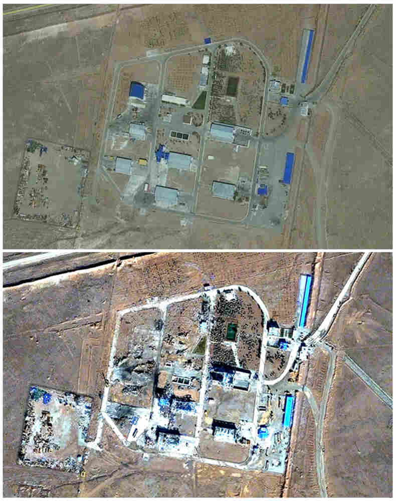 A combination of photos released by Institute for Science and International Security on Dec. 2 shows satellite images of a military base outside Tehran, Iran, on Sept. 9 (top), and the same base with extensively damaged buildings on Nov. 22 — 10 days after a mysterious explosion occurred at the missile base.