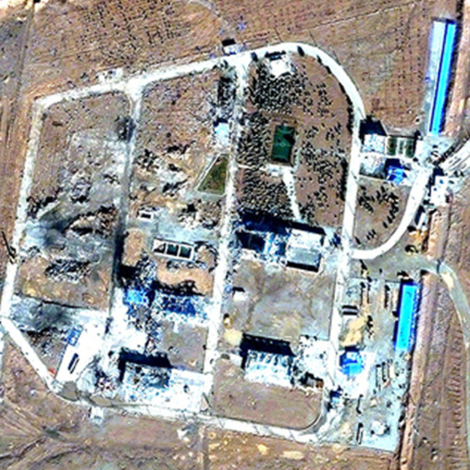 A combination of photos released by Institute for Science and International Security on Dec. 2 shows satellite images of a military base outside Tehran, Iran, on Sept. 9 (top), and the same base with extensively damaged buildings on Nov. 22 — 10 days after a mysterious explosion occurred at the missile base. (ISIS (bottom)/Landov)