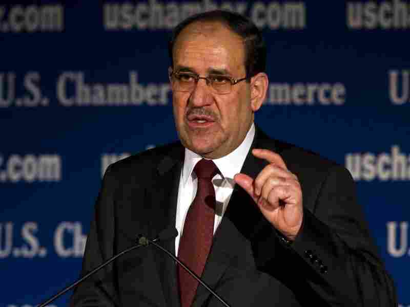 Iraqi Prime Minister Nouri al-Maliki speaks during a US/Iraq Initiative luncheon at the US Chamber of Commerce in Washington, DC, Dec. 13, 2011.