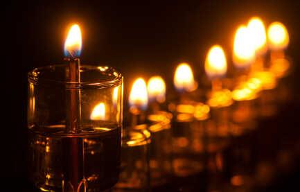 A Hanukkah menorah.