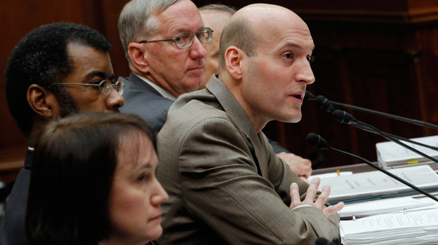 Nuclear Regulatory Commission Chairman Chairman Gregory Jaczko (center) speaks Wednesday during a meeting of the House Oversight and Government Reform Committee. His fellow commissioners, from bottom left: Kristine Svinicki, William Magwood IV and William Ostendorff. (Getty Images)