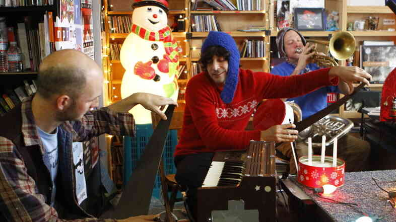 Julian Koster performs a Tiny Desk Concert with The Music Tapes at the NPR Music offices Dec. 6, 2011.