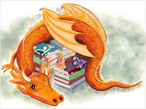 Illustration: A dragon protects her books.