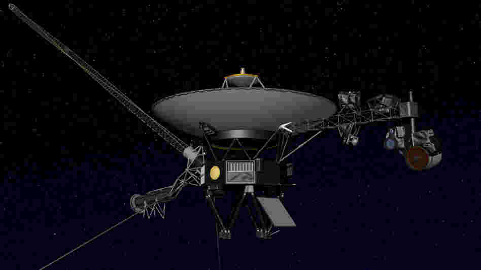 Artist's concept of NASA's Voyager spacecraft. For 35 years, the probes have been beaming images and information back to Earth via a 23-watt transmitter.