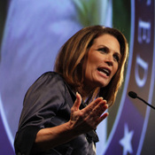 Republican presidential candidate Michele Bachmann speaks at The Gift of Life movie premiere in Des Moines on Wednesday night.