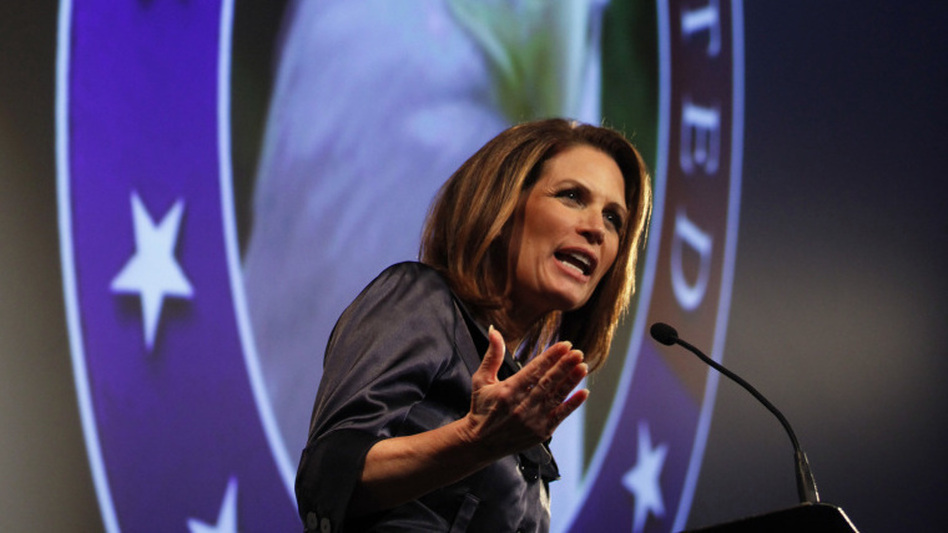 Republican presidential candidate Michele Bachmann speaks at The Gift of Life movie premiere in Des Moines on Wednesday night.  (Reuters /Landov)