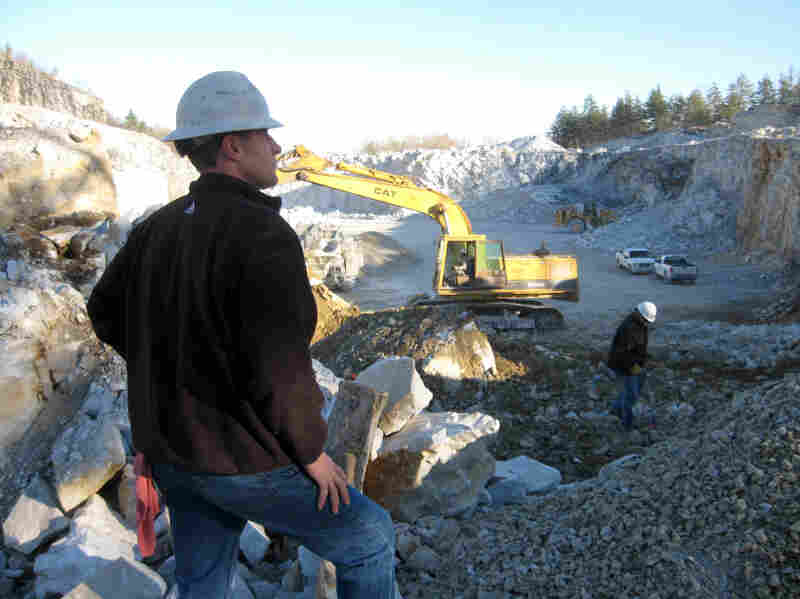 Chris Carl, foreman of the Shelburne Limestone Corp. quarry in South Wallingford, says Vermont's weather woes helped to more than double the quarry's business.