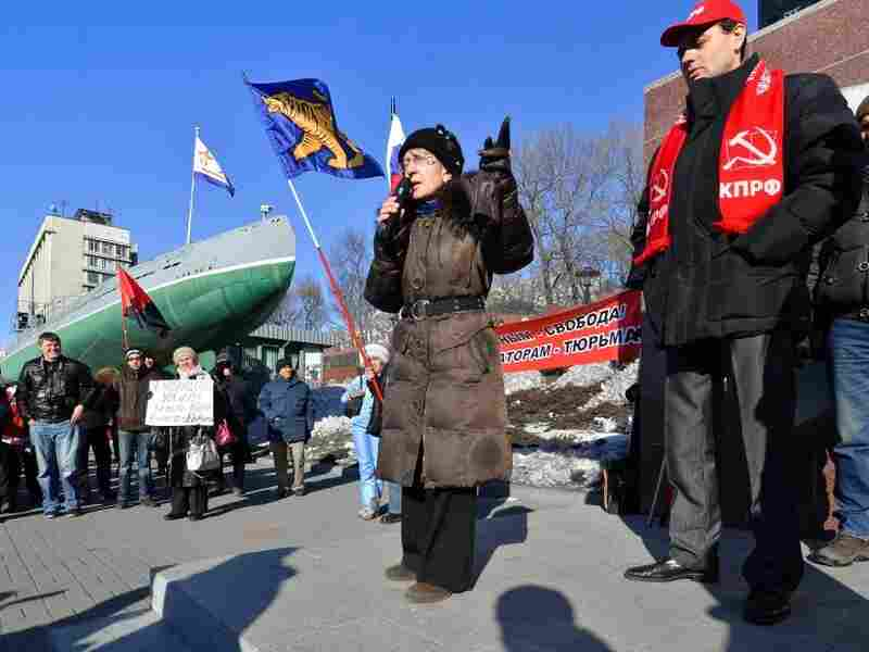 Activists protest on Dec. 10 in Vladivostock against the alleged mass fraud in the Dec. 4 parliamentary polls.