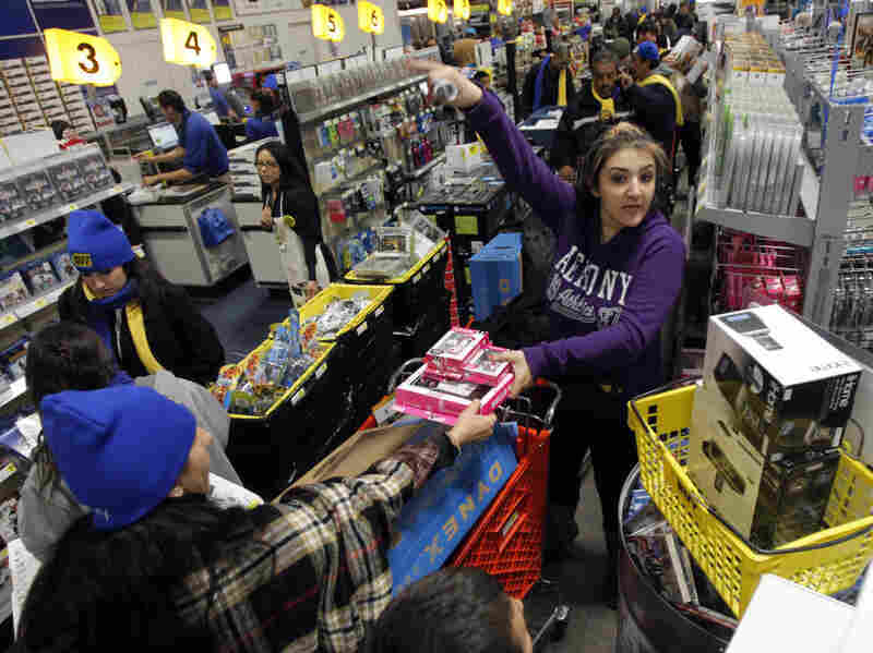 Customers crowd into a Best Buy store in Burbank, Calif., on Nov. 25.
